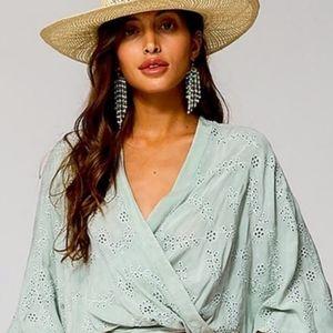 Young Fabulous Broke Eyelet Tia Cropped Kimono Top